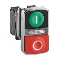 Кнопка двойная зеленая утопленная красная  выпуклая с маркировкой 22 мм 1НО+1НЗ со встроенной белой LED подсветкой 24В с возврат