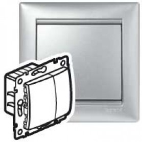 Светорегулятор 40-400Вт кнопочный алюминий Valena