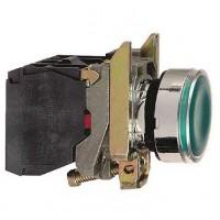 Кнопка зелёная 22 мм 1НО+1НЗ со встроенной LED подсветкой 230- 240В с возвратом