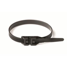 Хомут кабельный полиамид 9,0х265 мм гибкий с плоским замком 12 (-60С+80С) черный(упак.100шт.)