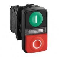Кнопка двойная зеленая утопленная красная  выпуклая с маркировкой 22 мм 1НО+1НЗ со встроенной белой LED подсветкой 220- 240В с в