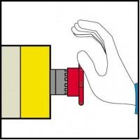 Кнопка красная аварийного останова 22мм 1НО+1НЗ триггерного действия с возвратом ключом