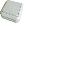 Выключатель 2 клавишный с подсветкой белый Олимп