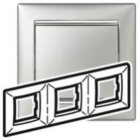 Pамка 3 поста алюминий/серебро Valena