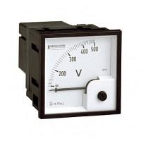 Вольтметр аналоговый панельный прямого включения для измерения напряжения переменного тока со шкалой до 500В 72х72 мм серия VLT