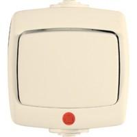 Переключатель 1 клавишный IP44, с индикатором слоновая кость РОНДО