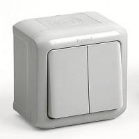Bыключатель/переключатель 2 клавишный серый IP 44 Quteo