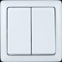 Выключатель 2 клавишный с изолирующей пластиной белый ХИТ