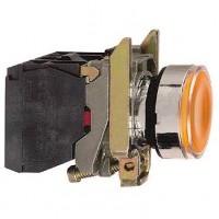 Кнопка жёлтая 22 мм 1НО+1НЗ со встроенной LED подсветкой 24В с возвратом