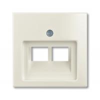 Накладка для розетки двойной телефонной/компьютерной шале белый Basiс 55