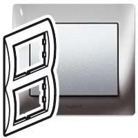 Рамка 2 поста вертикальная Metal Chrome