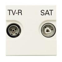 Розетка TV-R-SAT  с накладкой  белый Zenit