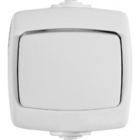 Переключатель 1 клавишный IP44, накладной, белый РОНДО (уп. 60 шт)