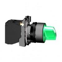 Переключатель 22мм зеленый с подсветкой 24В AC/DC 2-х позиционный 1НО+1НЗ с фиксацией