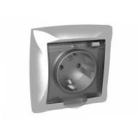 Розетка 2P+E со шторками с крышкой серебро Дуэт