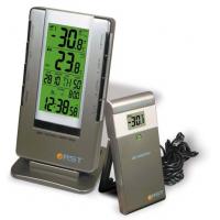 Термометр цифровой (радиодатч.,календ.,будил., часы,термом.,индикац.сост.батареи)настол.уст.цвет серый