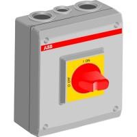 Рубильник в боксе 63А (AC23А) 3-пол. OTP63A3P 1НО доп. контакт, красно-желтая ручка