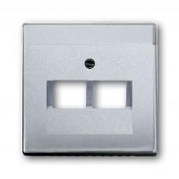 Накладка для 2 телефонной/компьютерной розетки (0214, 0215, 0217)  алюминий solo