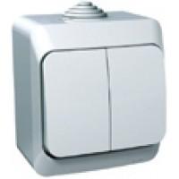 Выключатель 2 клавишный белый IP44 Этюд
