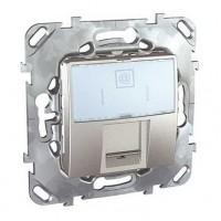 Розетка компьютерная 1хRJ45 с полем для надписи алюминий Unica Top
