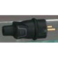 Вилка прямая с заземлением черная резиновая 16А 230В, IP44