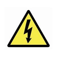 Предупреждающий знак Опасное напряжение треугольник, 50 мм, желтый