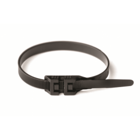 Хомут кабельный полиамид 9,0х300 мм гибкий с плоским замком 12 (-60С+80С) черный (упак.100шт.)