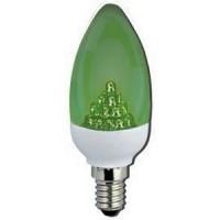 Лампа светодиодная 2,1 Вт 230В Е14 свеча 38мм, Green зеленая