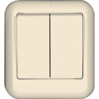 Выключатель 2 клавишный, сл. кость, откр. установки ПРИМА (уп. 130 шт)