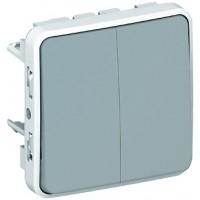 Выключатель/переключатель 2 клавишный встраиваемый  10A, серый  IP 55  Plexo