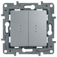 Выключатель/переключатель 2 клавишный с подсветкой алюминий Etika
