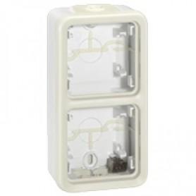 Коробка 2 поста вертикальная, белый IP 55 Plexo