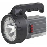Фонарь-светодиод-прожектор, 9LED+1Вт+18LED ЛЛ, аккумулятор 6В, 2,5Ah 220V