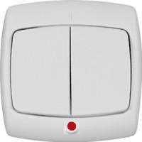 Выключатель 2 клавишный с индикатором белый РОНДО (уп. 90 шт)