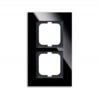 Рамка 2 поста стекло черное carat
