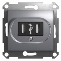 Розетка USB алюминий Glossa
