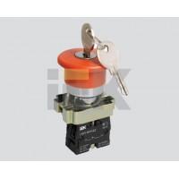 Кнопка управления Грибокс ключем красная 230В d22мм 1з+1р IP40 тип LAY5-BS142