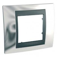 Рамка 1 пост металл Хром графит Unica Top