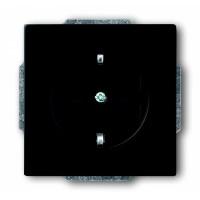 Розетка 2P+E  со шторками серия solo/future черный бархат