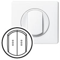Клавиша для выключателя/переключателя 2 клавишного с индикацией белый Celiane