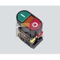 Кнопка управления I-0 неон/230В d22мм 1з+1р IP40 тип APBB-22N