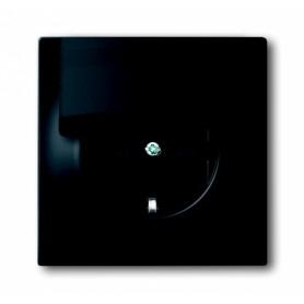 Розетка 2Р+E 16А с крышкой чёрный бархат Impuls