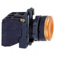 Кнопка жёлтая 22 мм 1НО+1НЗ со встроенной LED подсветкой 230- 240В с возвратом