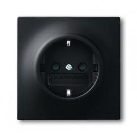 Розетка 2Р+E16А со шторками  чёрный бархат Impuls