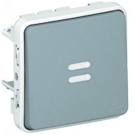 Выключатель/переключатель 1 клавишный встраиваемый с подсветкой 10A, серый IP55  Plexo