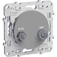 Розетка телевизионная R-TV/SATоконечная алюминий Odace