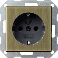 Розетка 2P+E 16A со шторками бронза/антрацит ClassiX