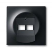 Накладка для розетки двойной телефонной/компьютерной  черный бархат Impuls