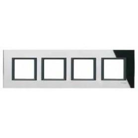 Рамка 4 поста черное стекло Unica Class