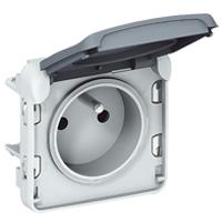 Розетка 2P+E+N со шторками с безвинтовыми клеммами серый Plexo